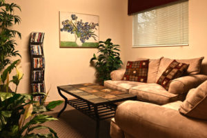 carpeted living room, 2 couches, coffee table, plants, and dvd rack
