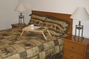 bed with two side tables, lamps, and breakfast tray on bed