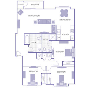 3 bed 2 bath floor plan, washer and dryer, kitchen, dining room, living room, balcony and storage, 2 closets
